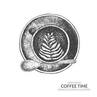 Koffiekop en bonen met lepel. koffiepauze in de ochtendtijd.