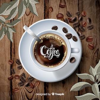 Koffiekop en bonenachtergrond