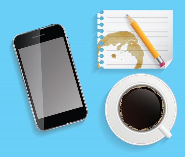 Koffiekop met abstracte tabletillustratie op zaken