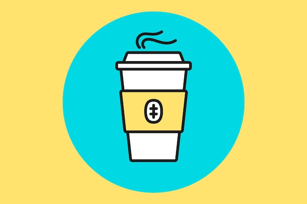 Koffiekop. witte koffiekopje op blauwe munt achtergrond. illustratie