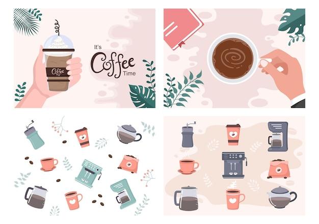 Koffiekopje achtergrond vector plat ontwerp