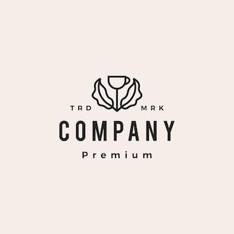 Koffiekopje boom blad plant hipster vintage logo vector pictogram illustratie