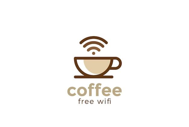 Koffiekopje cafe met gratis wifi-logo. lineaire stijl.