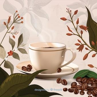Koffiekopje en bladeren achtergrond