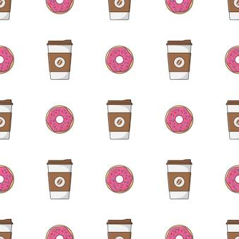 Koffiekopje en dessert naadloos patroon. have a break thema illustratie
