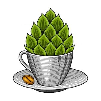 Koffiekopje en hop