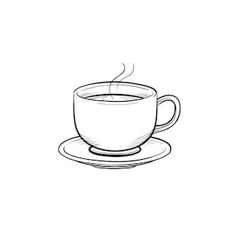 Koffiekopje hand getrokken schets doodle pictogram. schotel en kopje koffie schets vectorillustratie voor print, web, mobiel en infographics geïsoleerd op een witte achtergrond.