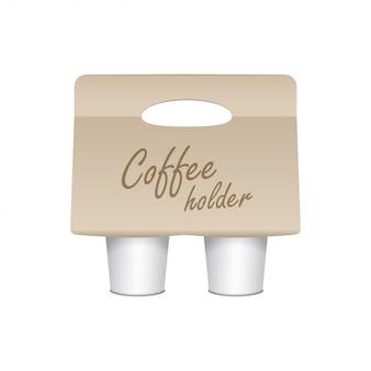 Koffiekopje kartonnen houder. afhaalmaaltijden bekerhouder