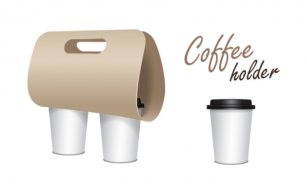 Koffiekopje kartonnen houder. papieren pakhouder. kartonnen koffiekop houder afhaalmaaltijden