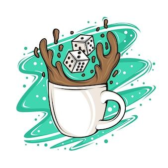 Koffiekopje met dobbelstenen illustratie