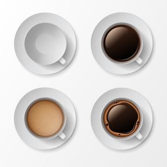 Koffiekopje mok met crema schuim bubbels bovenaanzicht