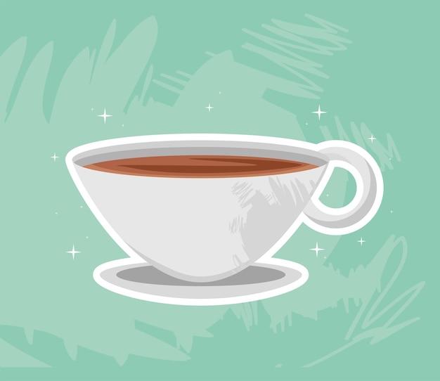 Koffiekopje over schotel