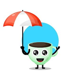 Koffiekopje paraplu schattig karakter mascotte