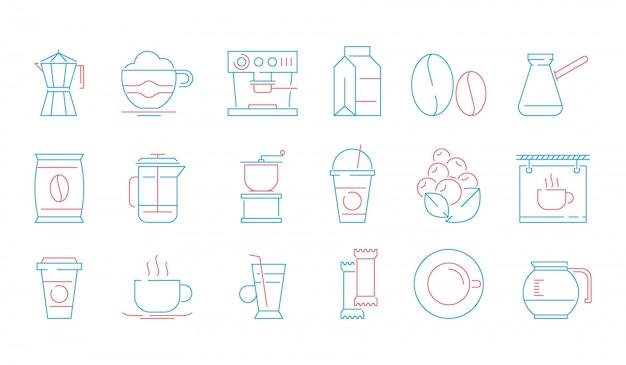 Koffiekopje pictogrammen. warme dranken thee en koffie espresso kopje en mok pot cake voedsel vector lineaire symbolen