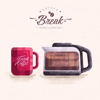 Koffiekopje pot jug vector illustratie