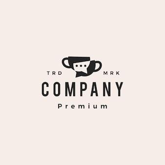 Koffiekopje praten chat communicatie forum hipster vintage logo vector pictogram illustratie