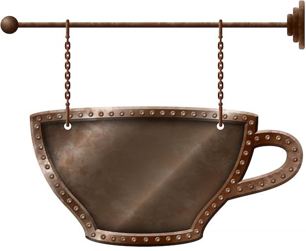 Koffiekopje uithangbord op kettingen