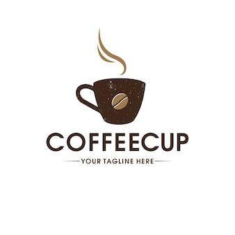 Koffiekopje vintage logo sjabloon