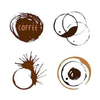 Koffiekopje vlekken collectie. geïsoleerde vector ronde vlekken en vlekken