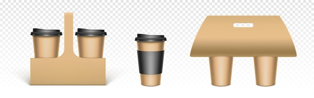 Koffiekopjes in houders van kraftpapier