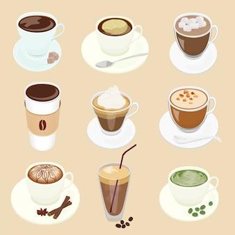 Koffiekopjes ingesteld