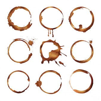 Koffiekopjesringen ingesteld. vuile spatten en druppels thee of koffie vector cirkel vormen