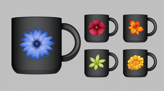 Koffiekopontwerp met kleurrijke bloemen