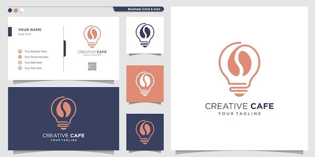 Koffielogo met creatief ideeconcept premium vector