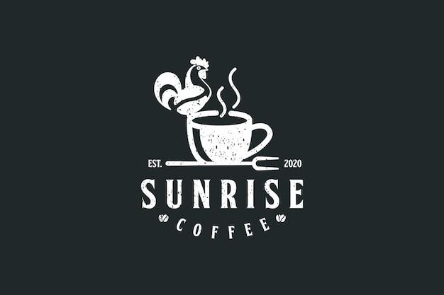 Koffielogo met kiplogo-ontwerp