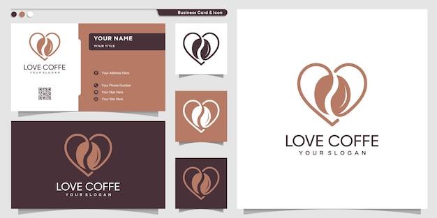 Koffielogo met liefdeslijnstijl en ontwerpsjabloon voor visitekaartjes premium vector
