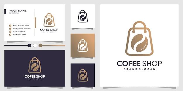 Koffielogo met lijntekeningenwinkelconcept en visitekaartjeontwerp premium vector