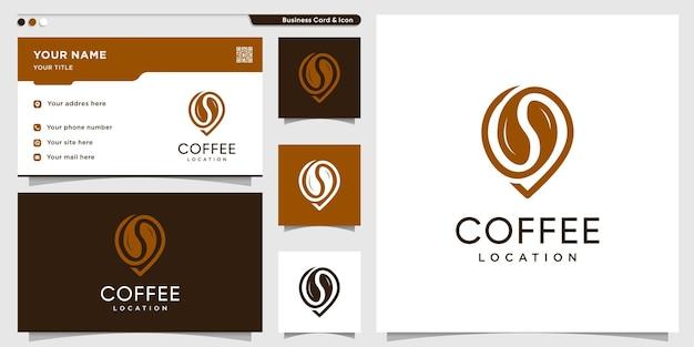 Koffielogo met locatiestijl en ontwerpsjabloon voor visitekaartjes premium vector