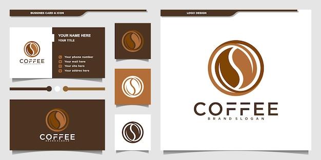 Koffielogo met luxe bladstijl en ontwerpsjabloon voor visitekaartjes premium vector