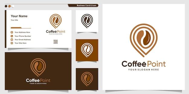 Koffielogo met puntlijnkunststijl en ontwerpsjabloon voor visitekaartjes premium vector