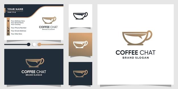 Koffielogosjabloon met chatconcept en visitekaartjeontwerp premium vector