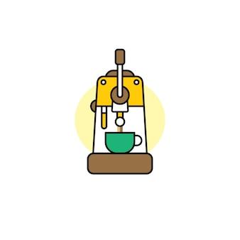 Koffiemachine cartoon thema