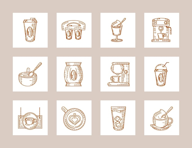 Koffiemachine cups zaden pictogrammen Premium Vector