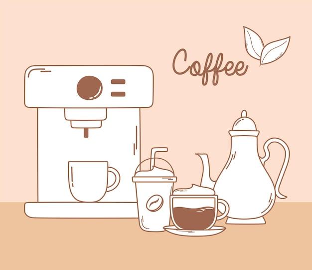 Koffiemachine frappe waterkoker en cappuccino in bruine lijn illustratie