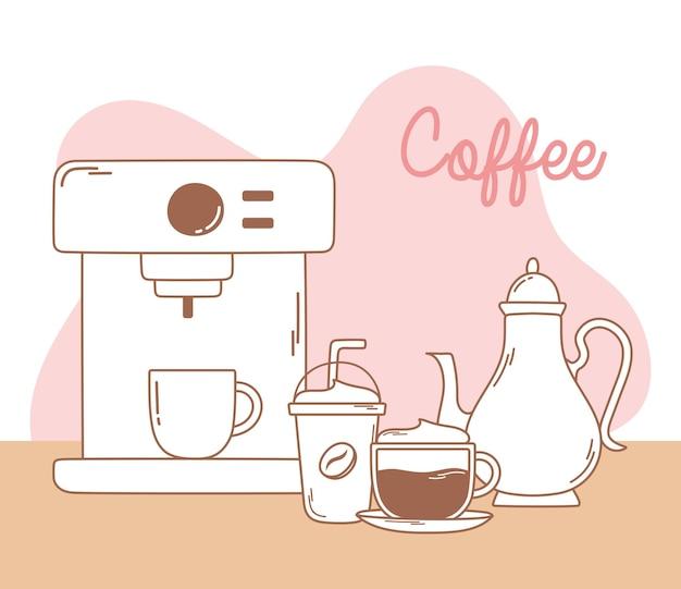 Koffiemachine frappeketel en cappuccino lijn en vul