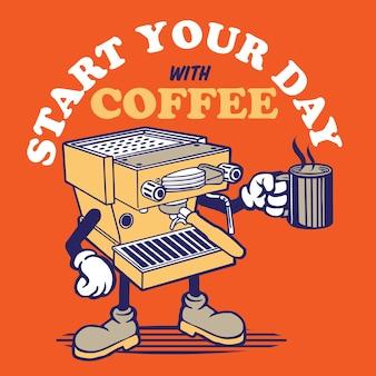 Koffiemachine mascotte