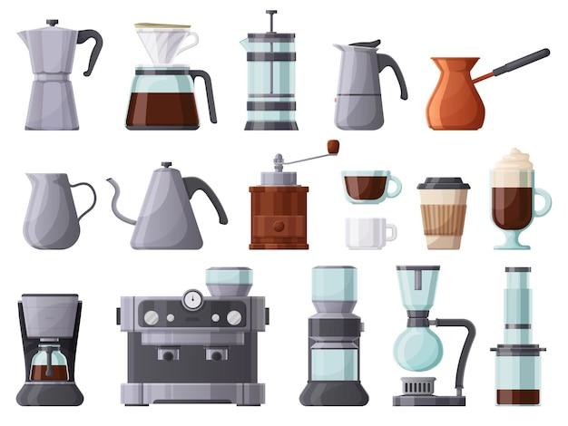 Koffiemachines, french press, cezve, pot, aeropress en espressomachine. koffie brouwen tools, kopjes en koffiepotten vector illustratie set. warm drankje koffie-element. koffiekopje en machine voor café