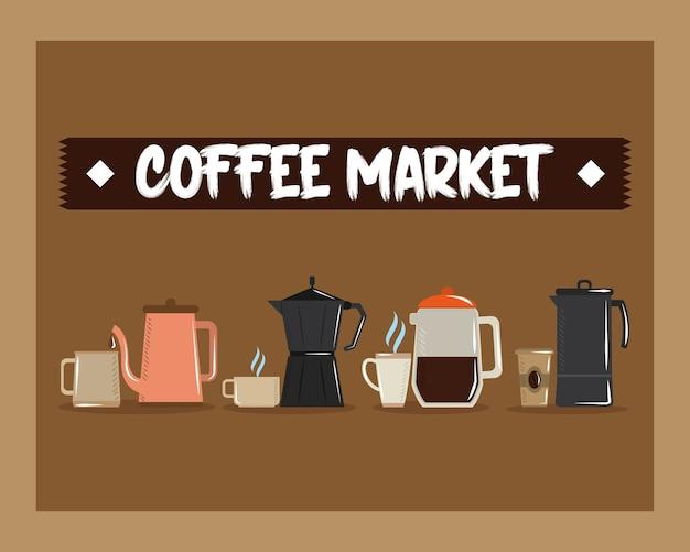 Koffiemarkt, verschillende manieren om warme energiedrank vectorillustratie te maken