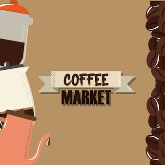 Koffiemarkt, waterkoker maker grind zaden ontwerp vectorillustratie