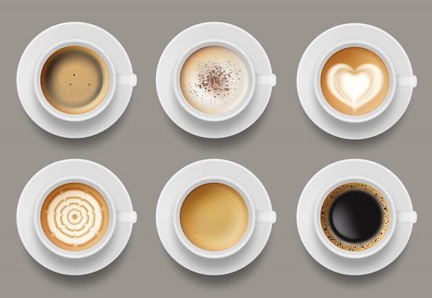 Koffiemok bovenaanzicht. cappuccino espresso latte melk bruin koffie vector realistische sjabloon