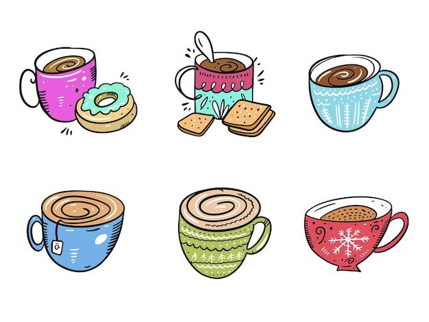 Koffiemok collectie set. hand getekend geïsoleerd op een witte achtergrond. cartoon stijl.