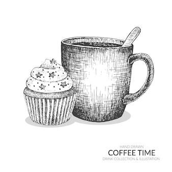 Koffiemok en cupcake. set van koffie tijd illustratie.