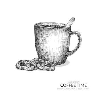 Koffiemok en koekjes. set van koffie tijd illustratie.