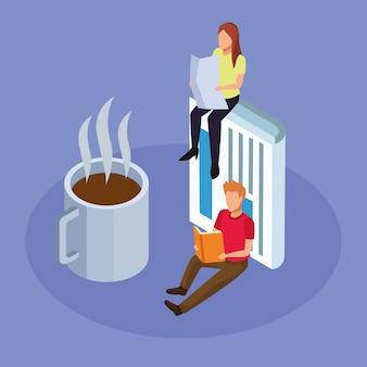 Koffiemok en mensen lezen zittend op paars