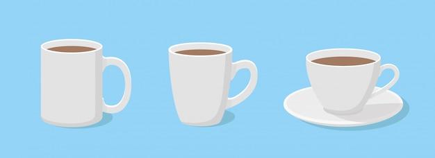Koffiemok in vlakke stijl een set van drie kopjes