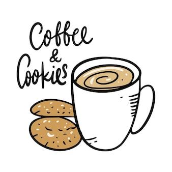 Koffiemok met koekjes. hand getekend en belettering. geïsoleerd op witte achtergrond. cartoon stijl.
